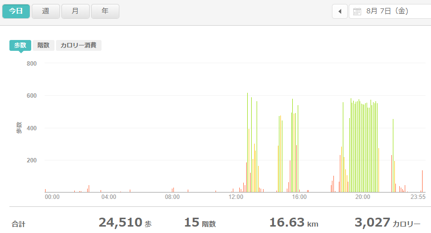 fitbitログより 運動データ2020年8月8日分