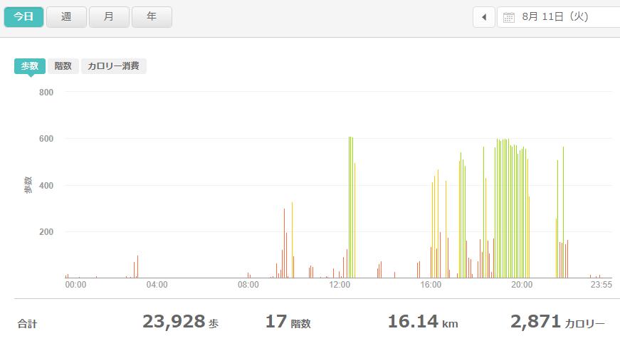fitbitログより 運動データ2020年8月11日分