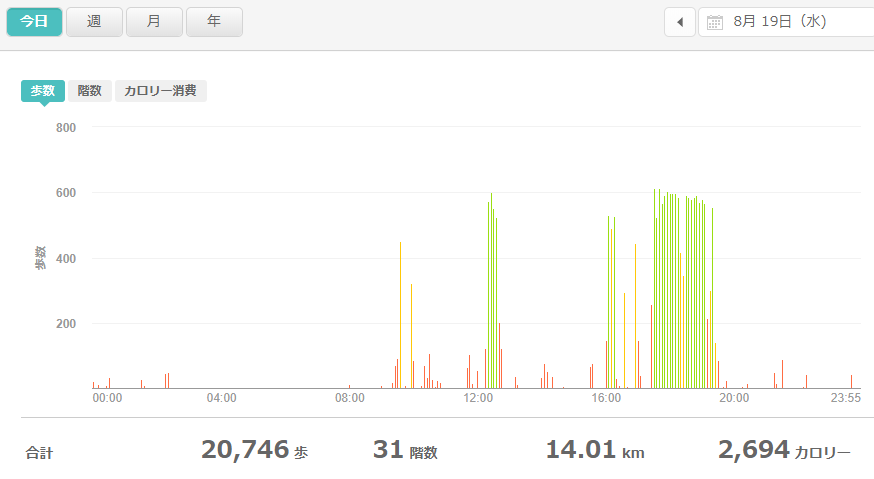 fitbitログより 運動データ2020年8月19日分