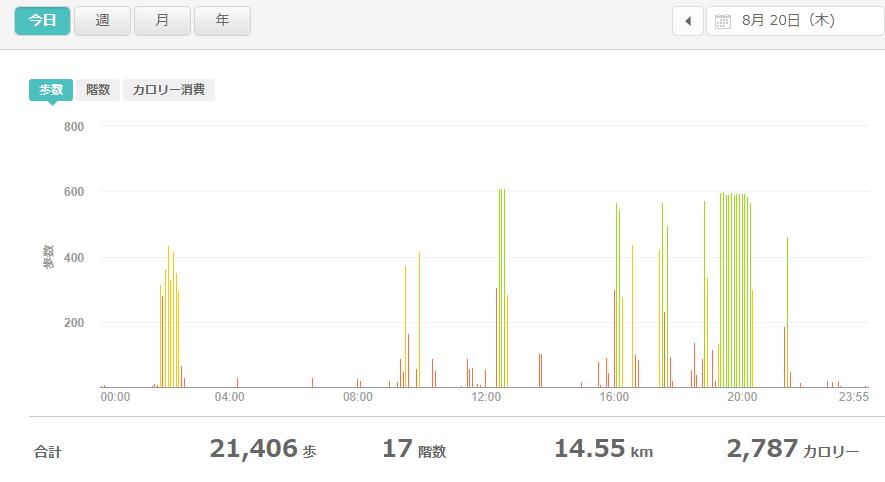 fitbitログより 運動データ2020年8月20日分
