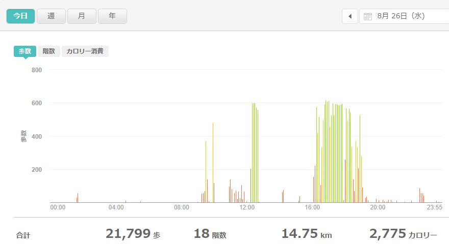 fitbitログより 運動データ2020年8月26日分