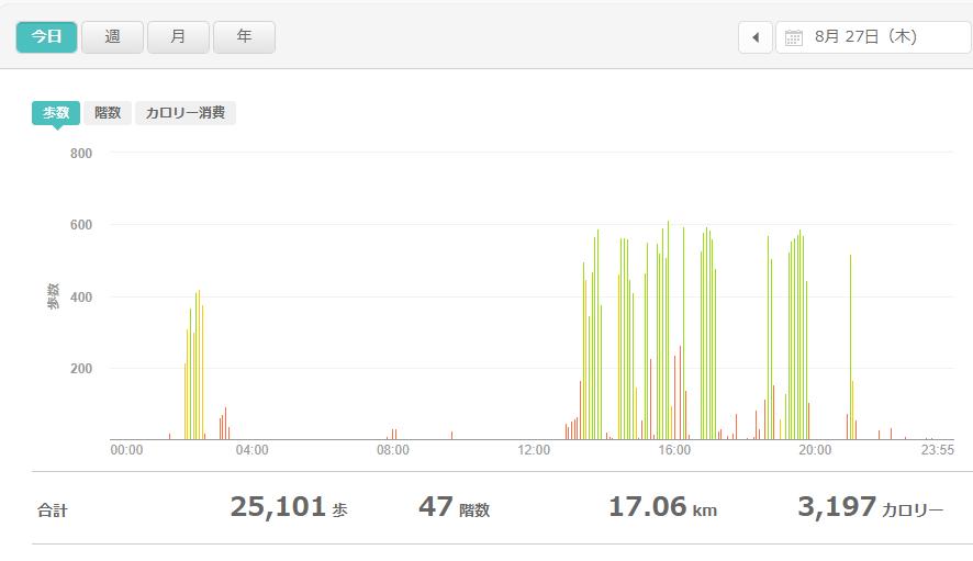 fitbitログより 運動データ2020年8月27日分