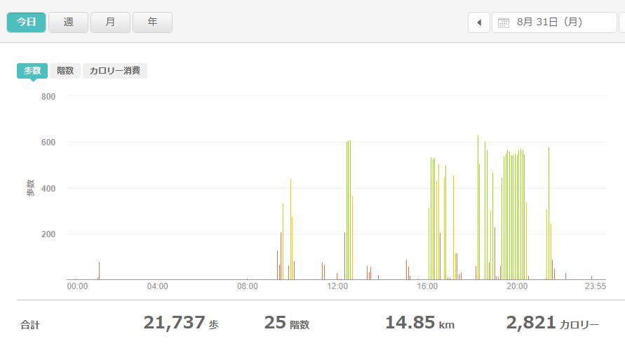fitbitログより 運動データ2020年8月31日分
