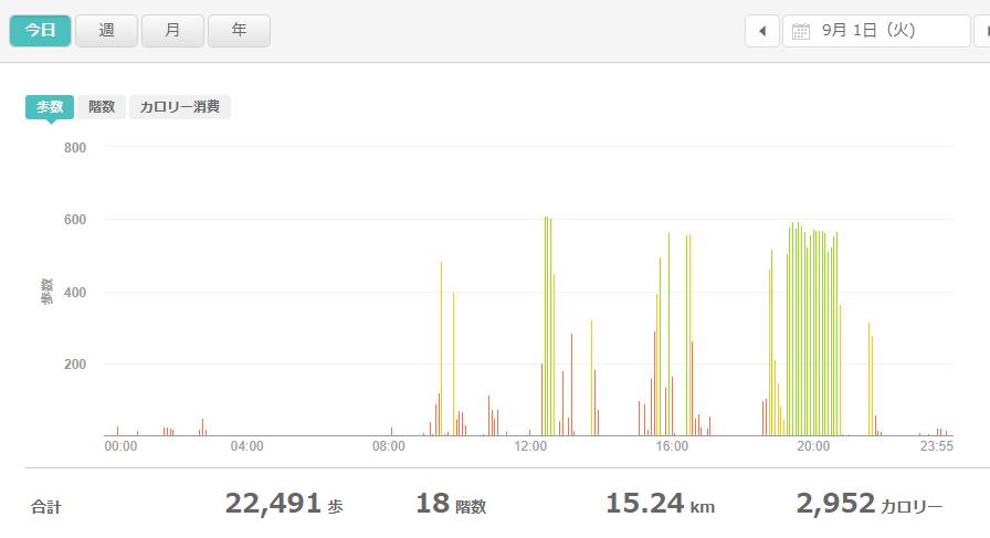 fitbitログより 運動データ2020年9月1日分