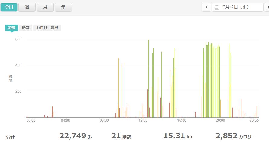 fitbitログより 運動データ2020年9月2日分