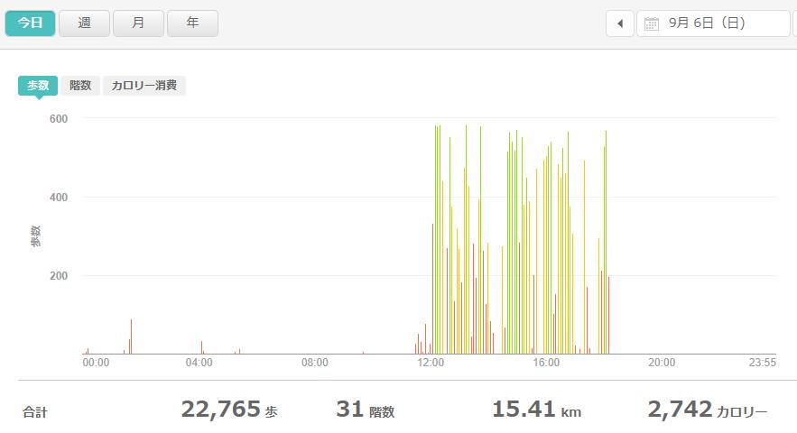 fitbitログより 運動データ2020年9月6日分