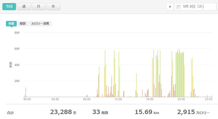 fitbitログより 運動データ2020年9月8日分