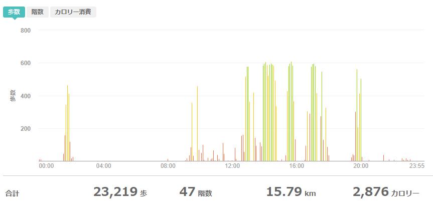 fitbitログより 運動データ2020年9月9日分