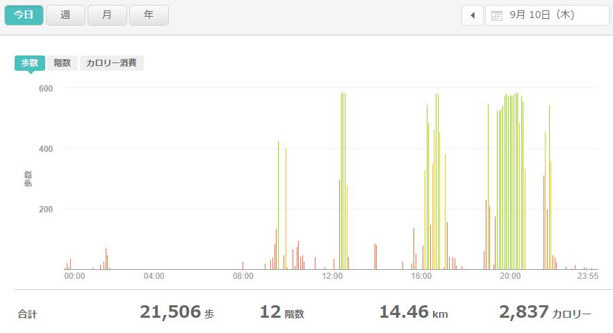 fitbitログより 運動データ2020年9月10日分