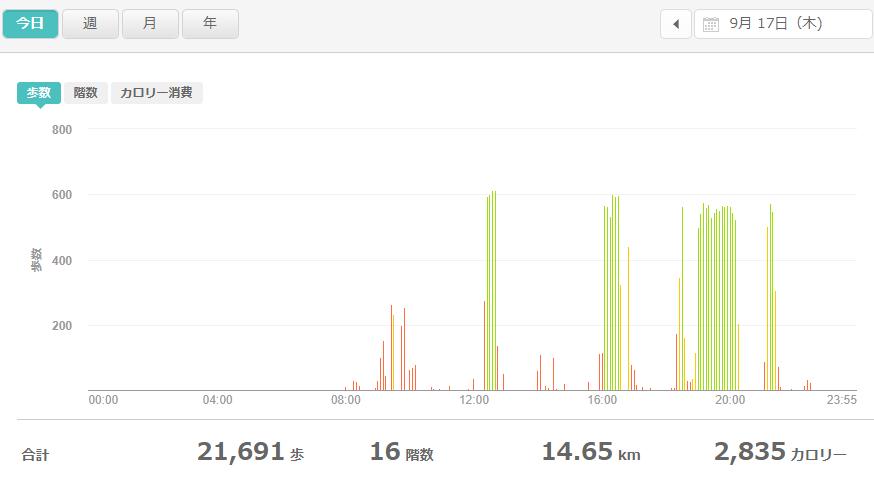 fitbitログより 運動データ2020年9月17日分