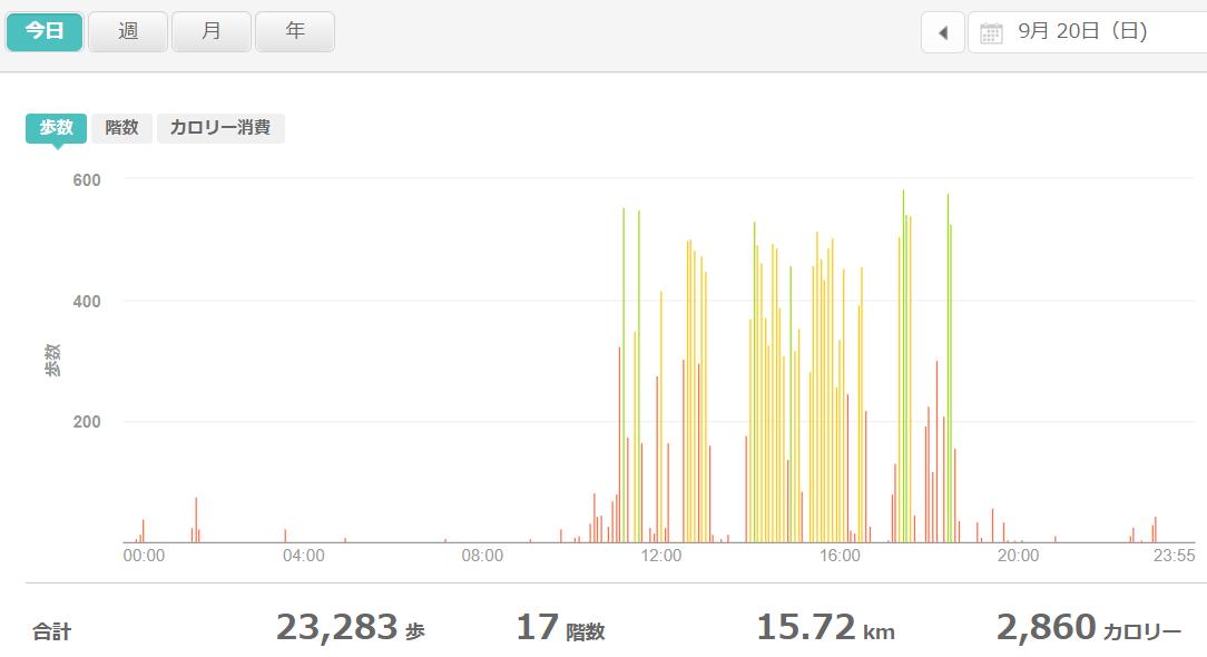 fitbitログより 運動データ2020年9月20日分