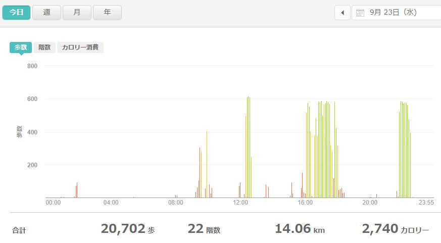fitbitログより 運動データ2020年9月23日分