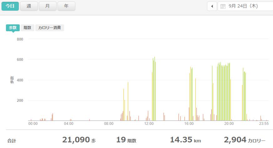 fitbitログより 運動データ2020年9月24日分