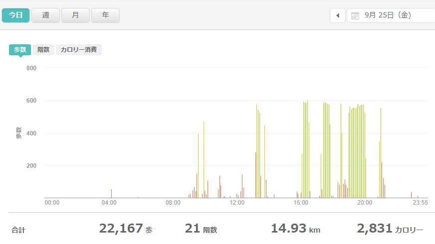 fitbitログより 運動データ2020年9月25日分