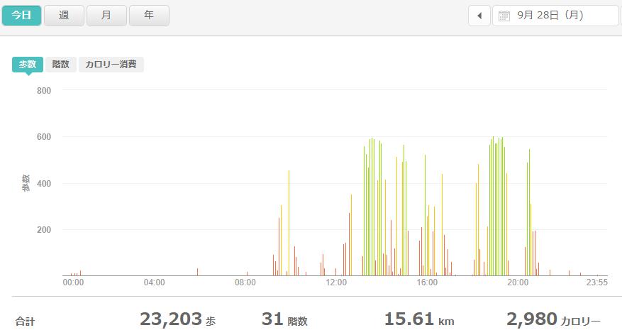 fitbitログより 運動データ2020年9月28日分