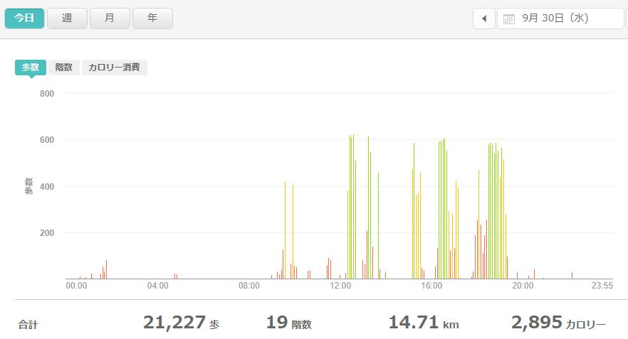 fitbitログより 運動データ2020年9月30日分