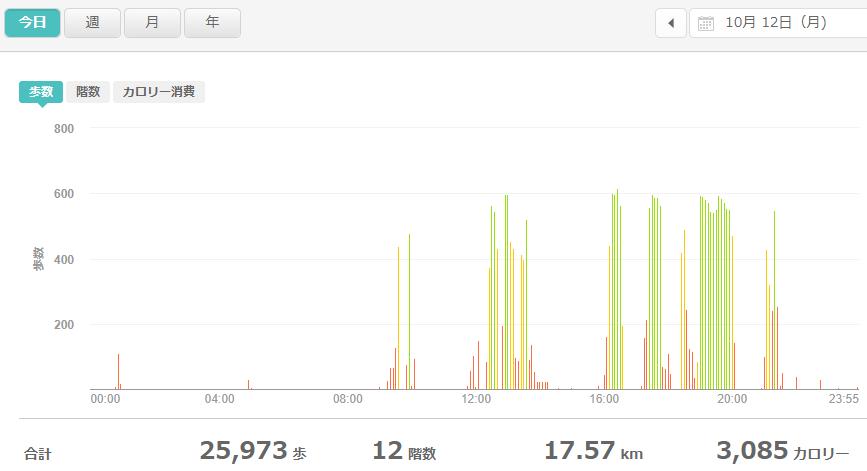 fitbitログより 運動データ2020年10月12日分