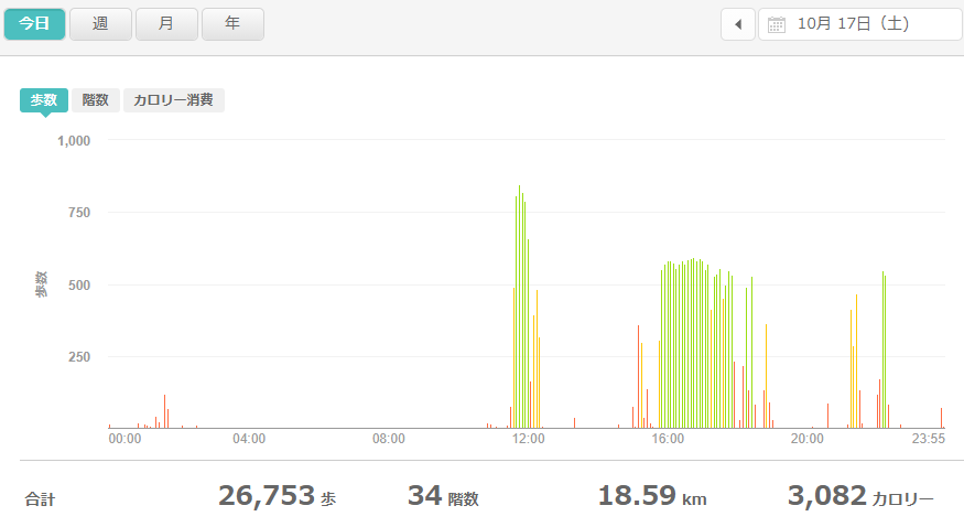 fitbitログより 運動データ2020年10月17日分