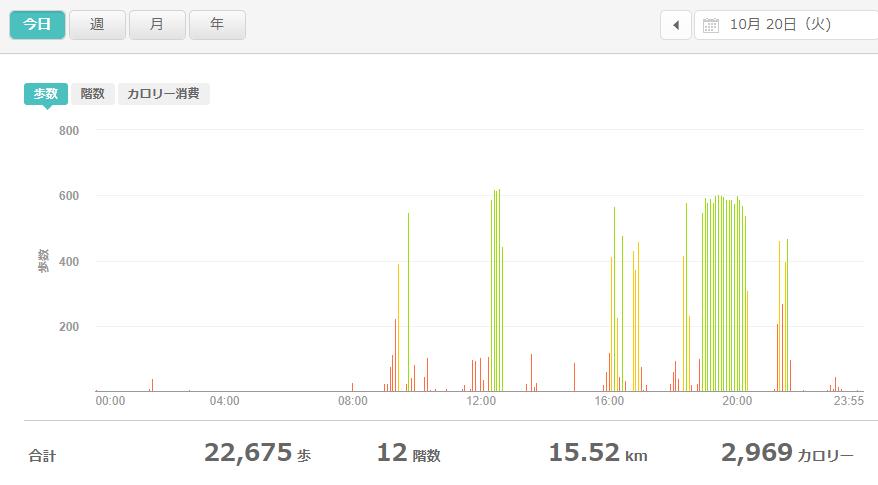 fitbitログより 運動データ2020年10月20日分