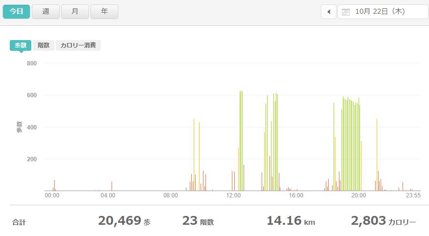 fitbitログより 運動データ2020年10月22日分