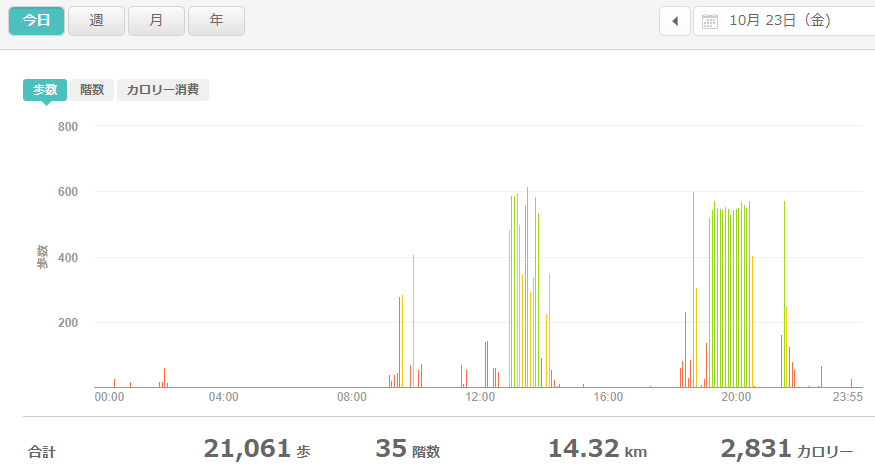 fitbitログより 運動データ2020年10月23日分