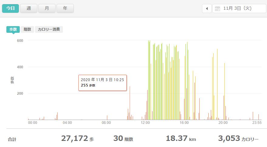 fitbitログより 運動データ2020年11月3日分