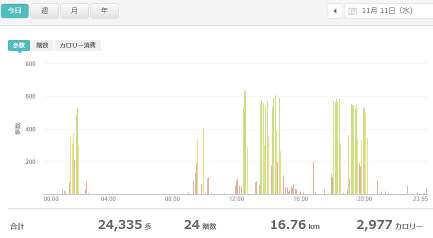 fitbitログより 運動データ2020年11月11日分