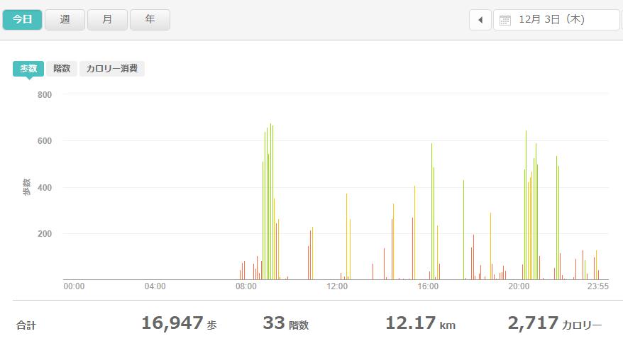 fitbitログより 運動データ2020年12月3日分