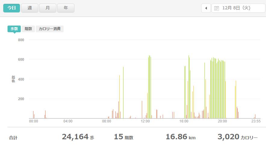 fitbitログより 運動データ2020年12月8日分