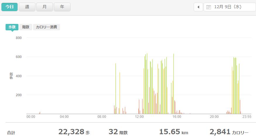 fitbitログより 運動データ2020年12月9日分