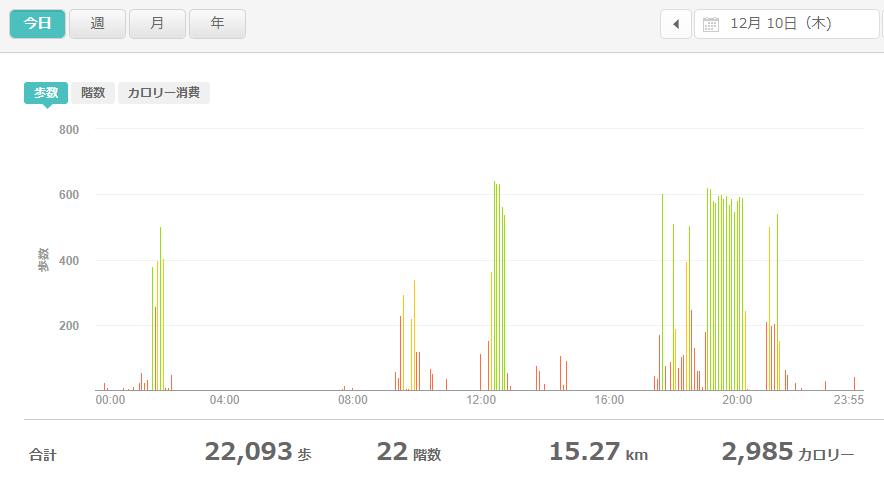 fitbitログより 運動データ2020年12月10日分