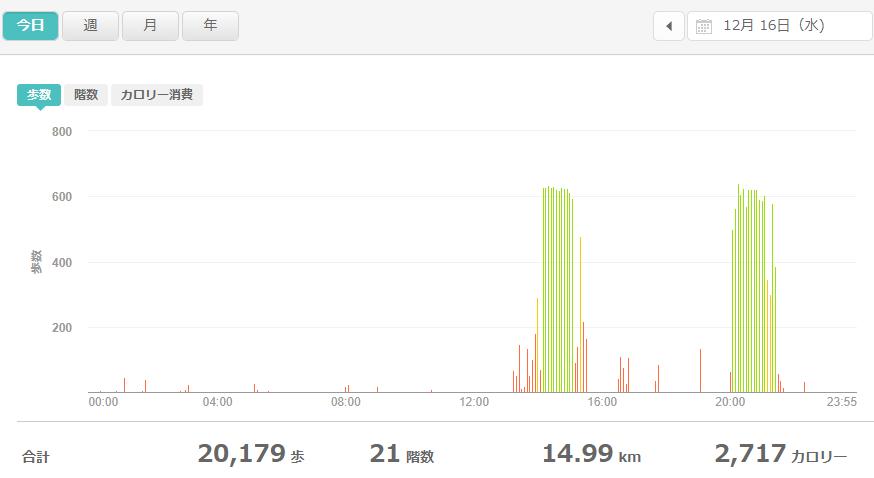 fitbitログより 運動データ2020年12月16日分