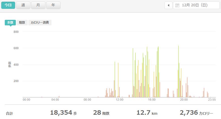 fitbitログより 運動データ2020年12月20日分