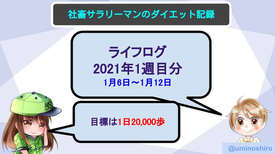 【サラリーマンのダイエット記録】1月6日〜2020年1月12日分【ライフログ2021年1週目】