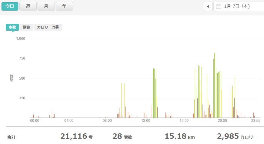 fitbitログより 運動データ2021年1月7日