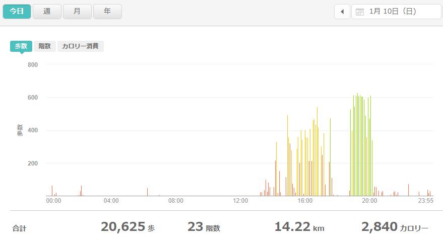 fitbitログより 運動データ2021年1月10日