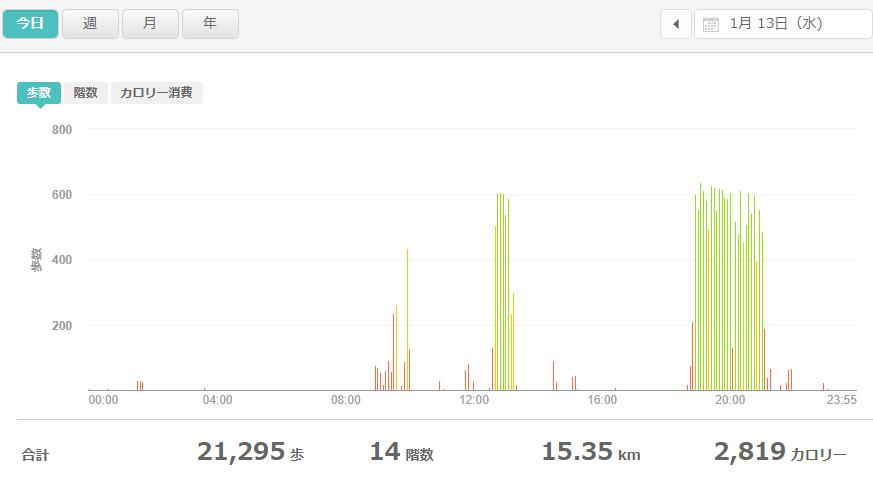 fitbitログより 運動データ2021年1月13日