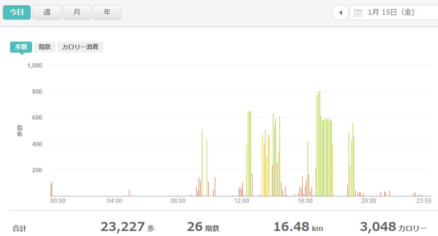 fitbitログより 運動データ2021年1月15日