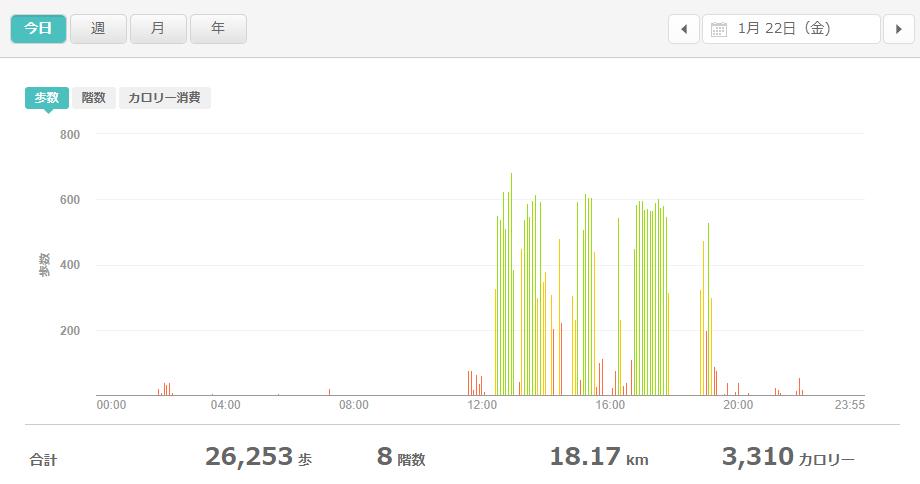 fitbitログより 運動データ2021年1月22日