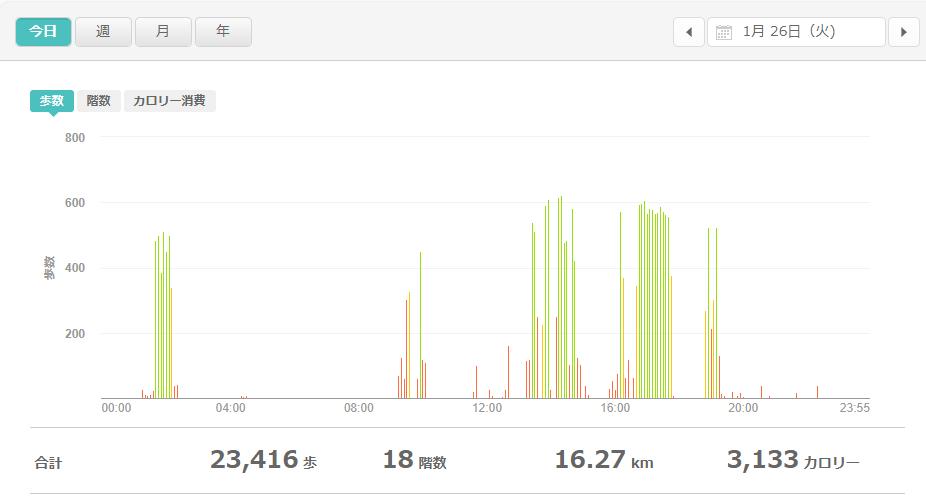 fitbitログより 運動データ2021年1月26日