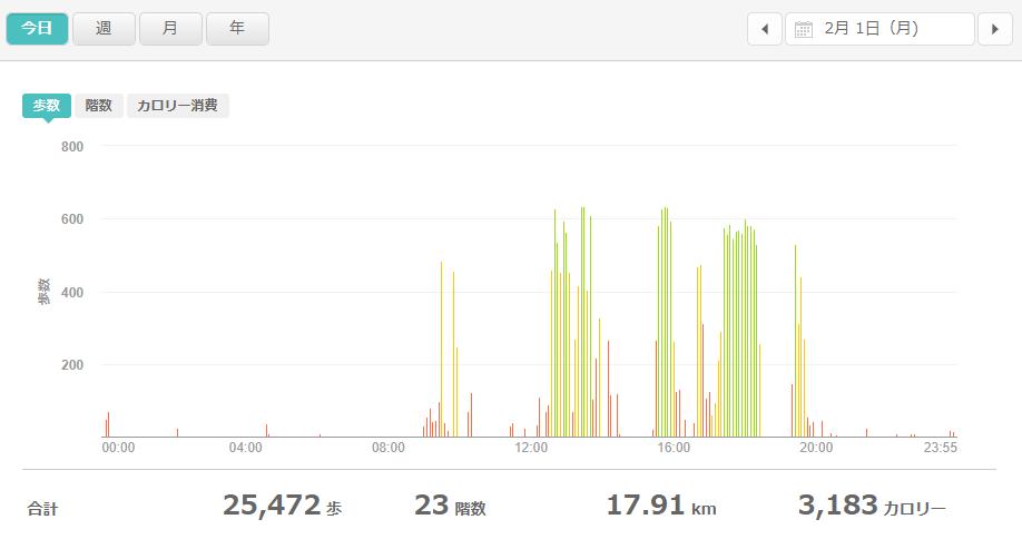 fitbitログより 運動データ2021年2月1日