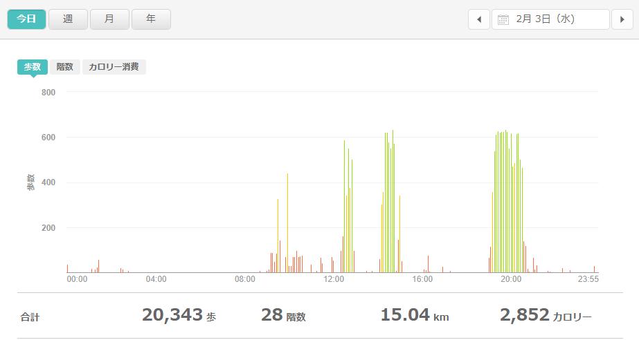 fitbitログより 運動データ2021年2月3日