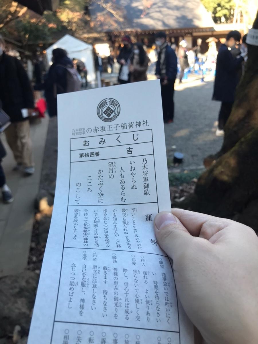 赤坂王子稲荷神社のおみくじ
