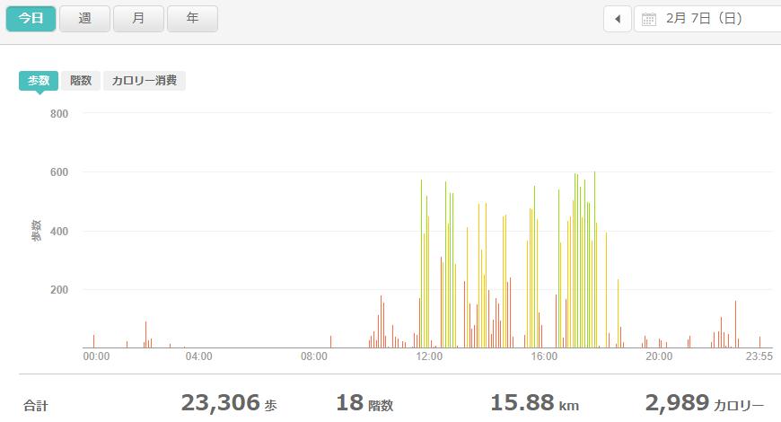 fitbitログより 運動データ2021年2月6日