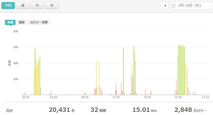 fitbitログより 運動データ2021年2月11日