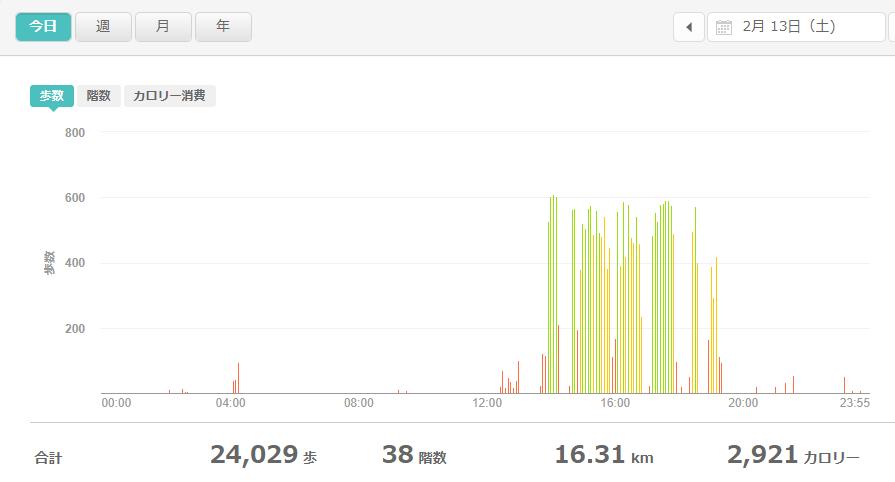 fitbitログより 運動データ2021年2月13日