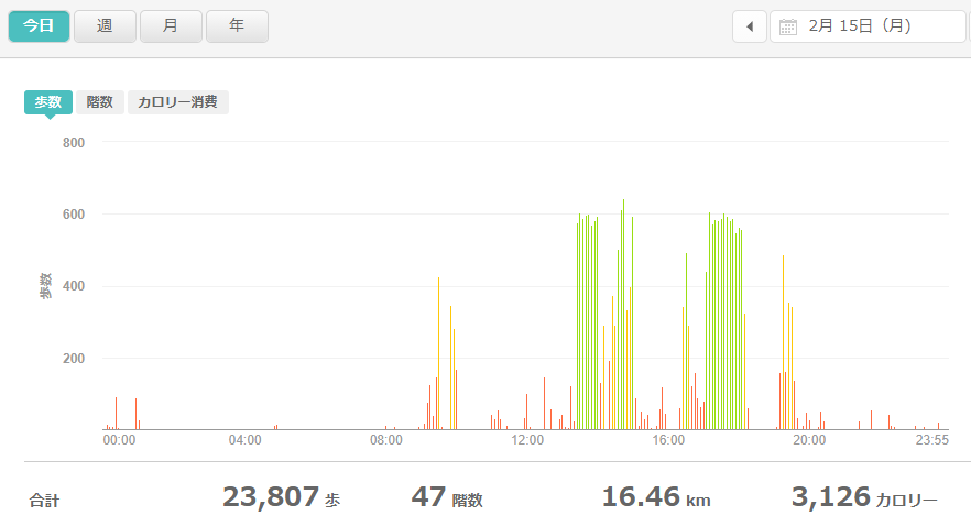 fitbitログより 運動データ2021年2月15日