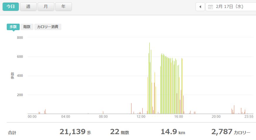 fitbitログより 運動データ2021年2月17日