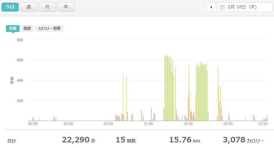 fitbitログより 運動データ2021年2月18日
