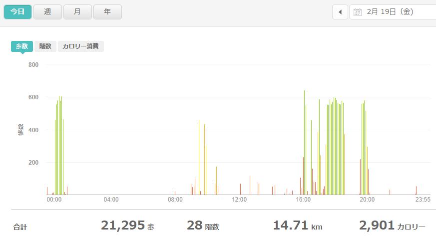fitbitログより 運動データ2021年2月19日